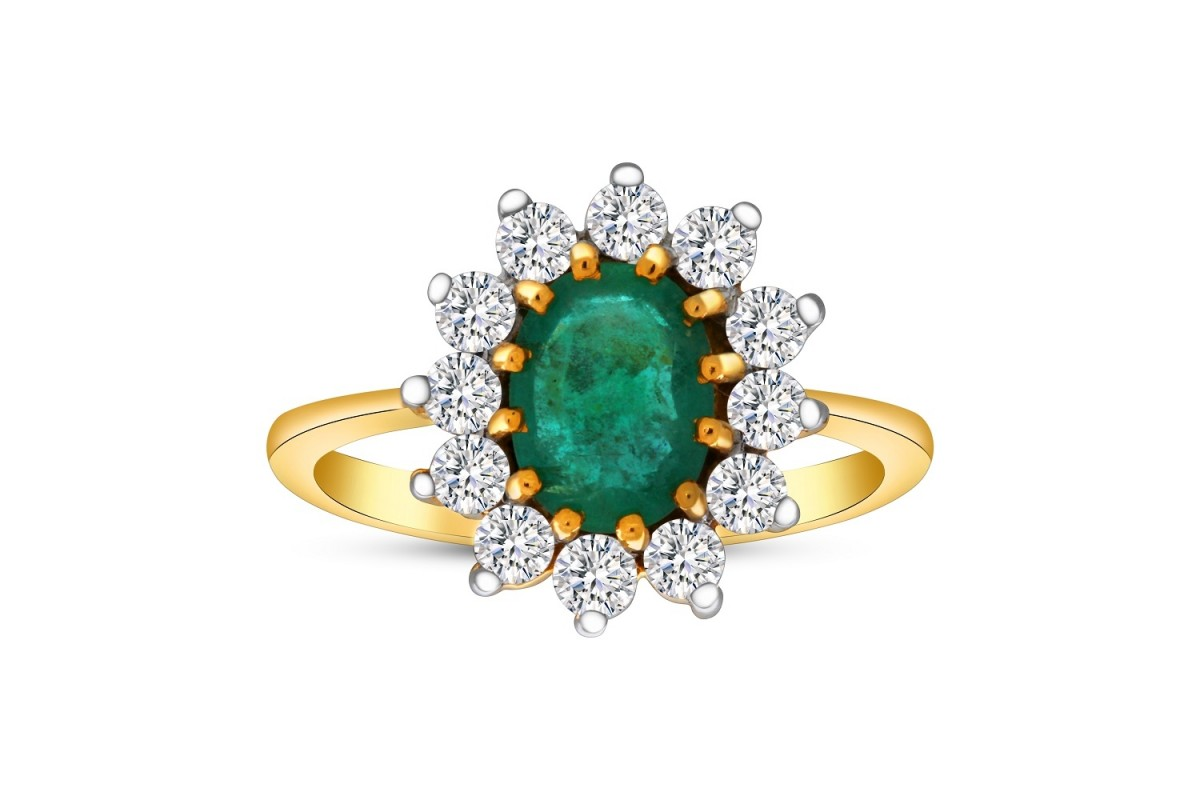 EMERALD RING 1.25CT OVAL & 0.65CT DIAMONDS IN 18K YELLOW GOLD