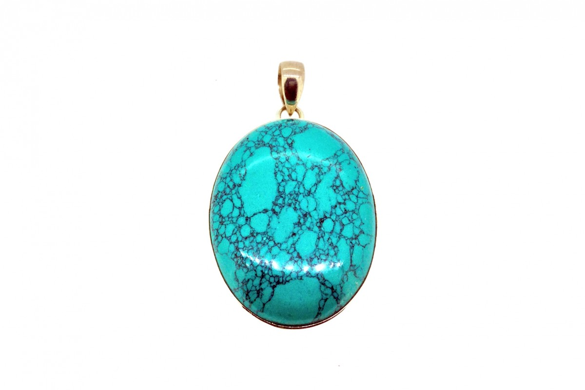 Turquoise Pendant 925 Sterling Silver Oval shape 30mm