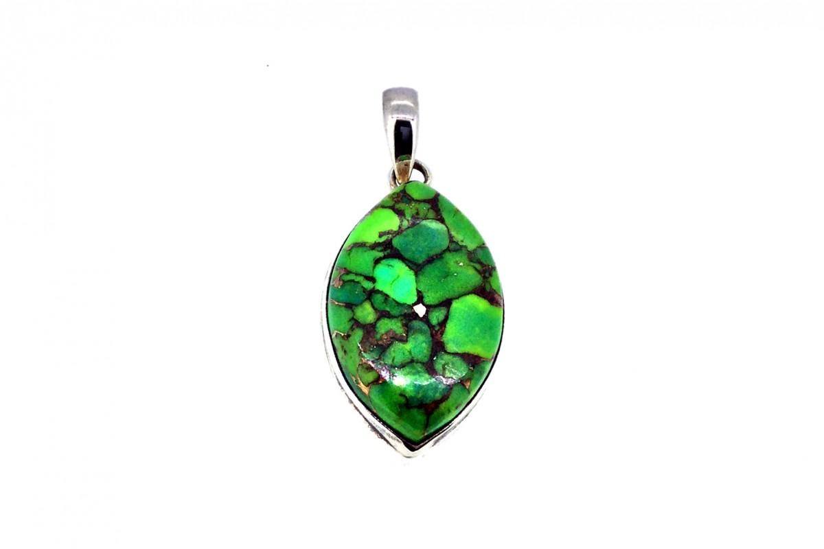 Copper GreenTurquoise Pendant 925 Sterling Silver Pear shape 30mm