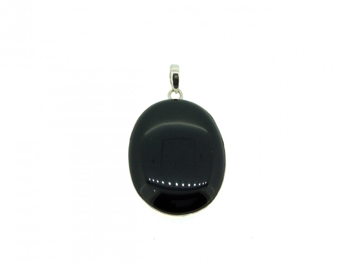 Black Onyx Cabs Pendant 925 Sterling Silver Oval 40mm