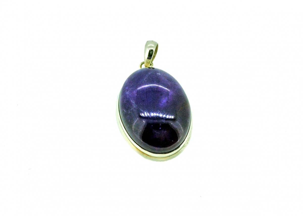 Amethyst Cabochon Stone Pendant 925 Sterling Silver Oval 30-35mm