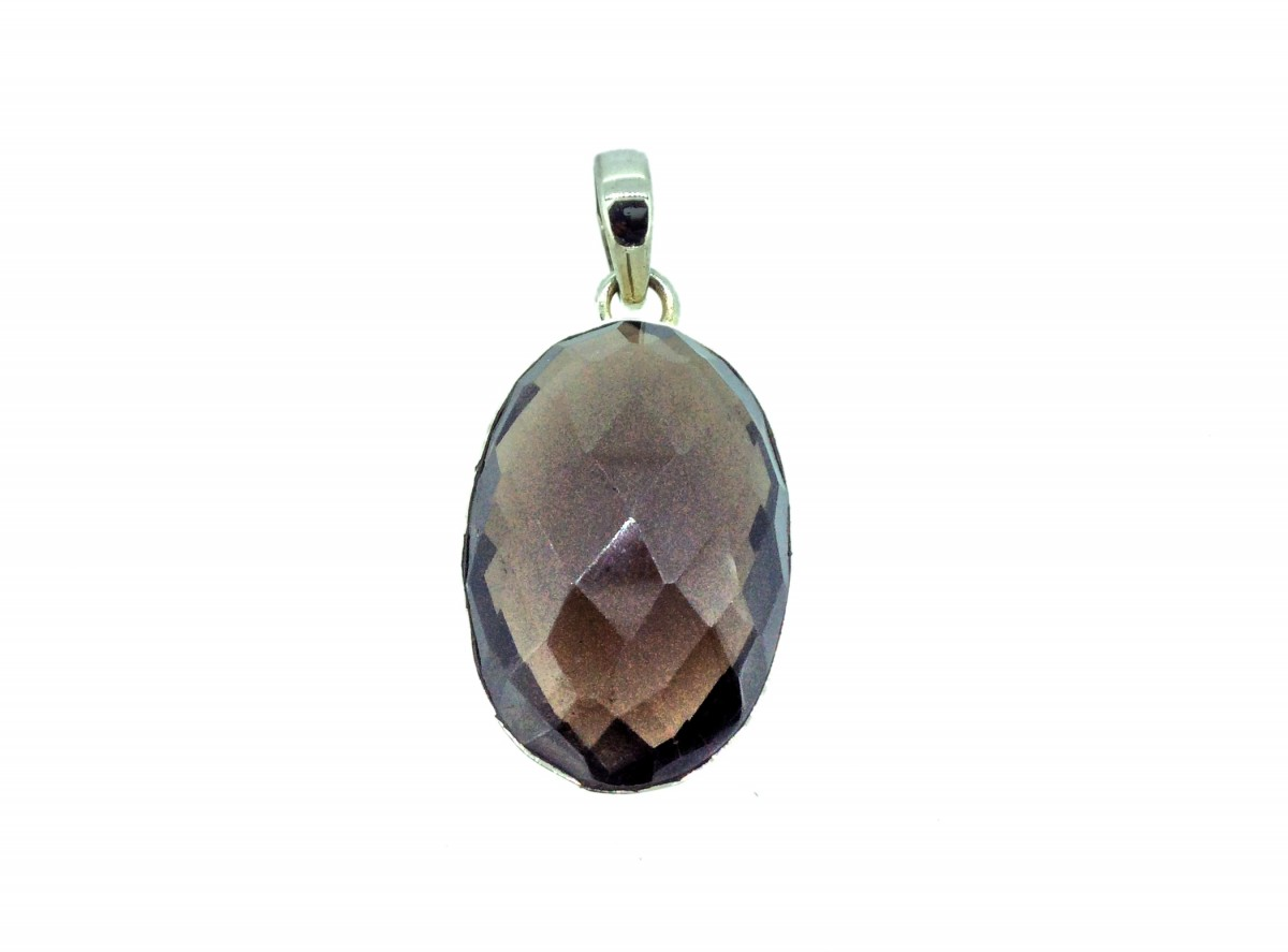 Smoky Quartz Cut Stone Pendant 925 Sterling Silver Oval 25-30mm