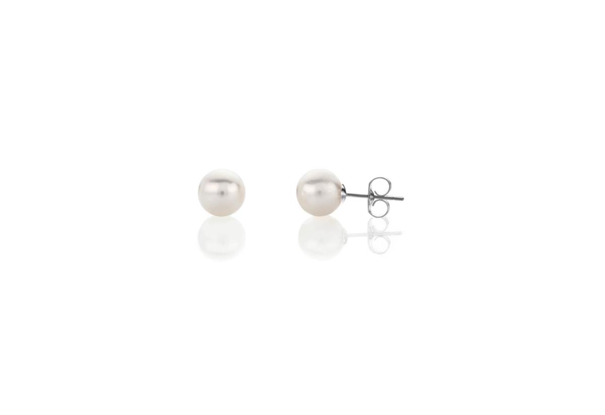 925 Silver 5mm White Fresh Water Pearl Stud Earrings
