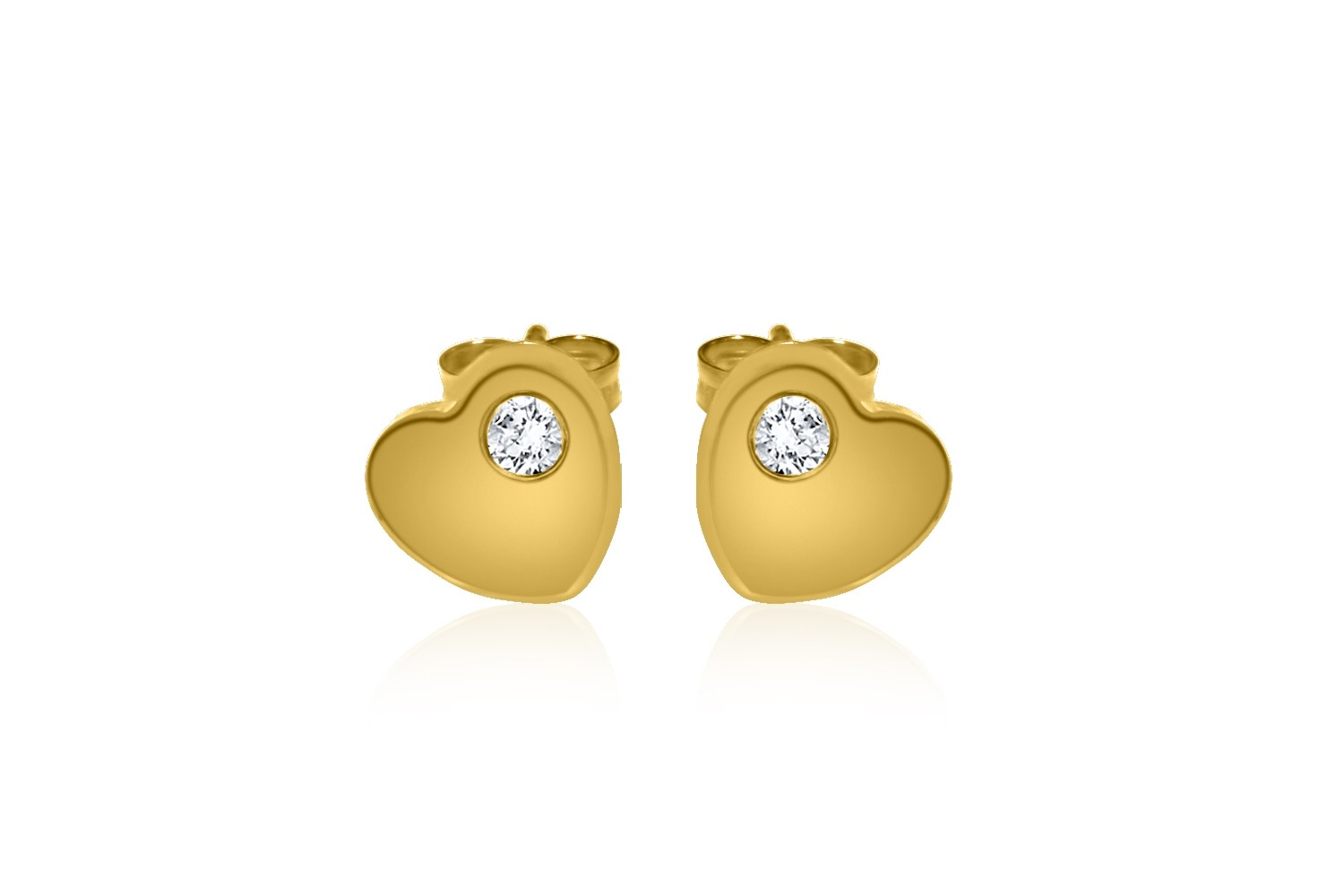 UK MADE 9ct Yellow Gold Polished Heart Stud Earrings
