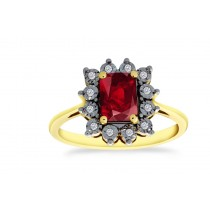 18ct 750 Yellow Gold Ruby Diamond Ring