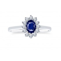 18ct 750 White Gold Sapphire Diamond Ring