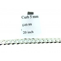 925 Sterling Silver 5mm Wide Flat Curb Chain 20Inches