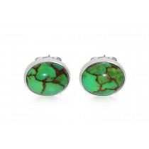 Sterling Silver 925 Oval Green Turquoise Studs 8mm*6mm