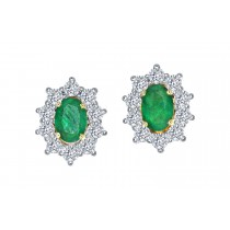 EMERALD 0.86CT & DIAMOND 0.60CT STUDS EARRINGS 18CT 750 YELLOW GOLD