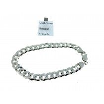 Sterling Silver Curb Link Bracelet Plain 5mmW  L5.5 inch