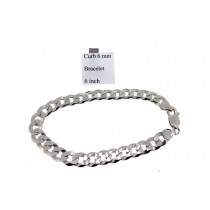 Sterling Silver Curb Link Bracelet Plain 6mmW  L6inch