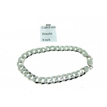 Sterling Silver Universal Mens Curb Link Bracelet Plain 6mmW  L8inch