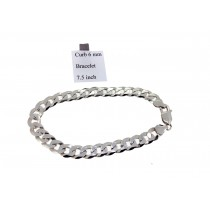 Sterling Silver Universal Curb Link Bracelet Plain 6mmW  L7.5 inch