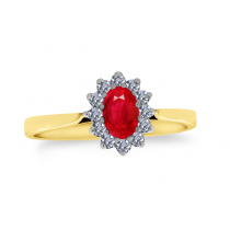 9ct 375 Yellow Gold Ruby Diamond Ring