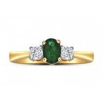 EMERALD RING 0.50CT OVAL & 0.18CT DIAMONDS IN 18K YELLOW GOLD