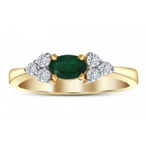 EMERALD RING 0.50CT OVAL & 0.20CT DIAMONDS IN 18K YELLOW GOLD