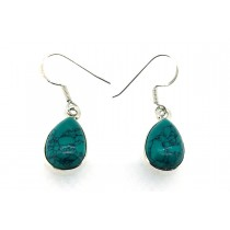 Sterling Silver 925 Pear Turquoise Eardrops
