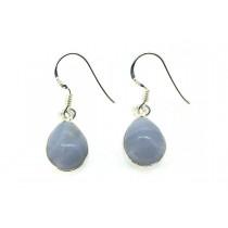 Sterling Silver 925 Pear BlueLace Agate Eardrops