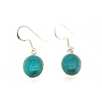 Sterling Silver 925 Oval Turquoise Eardrops