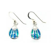 Sterling Silver 925 Pear Blue Opal Eardrops