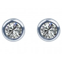 Sterling Silver 925 Birthstone April Clear Crystal 4mm Studs