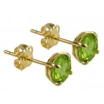 9ct 375 Yellow Gold Birthstone August Peridot 5mm Studs
