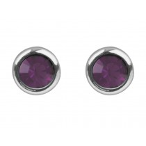 Sterling Silver 925 Birthstone February Amethyst 4mm Studs