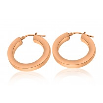 925 Sterling Silver Rose Plated Hoop Earrings 28mm