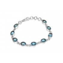 925 Sterling Silver Blue Topaz Bracelet Oval 8mm*6mm