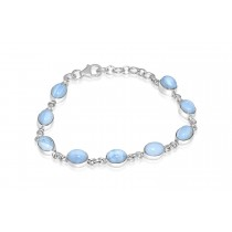 925 Sterling Silver Blue Lace Agate Bracelet Oval 8mm*6mm