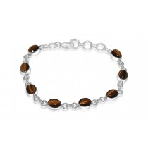 925 Sterling Silver Tiger Eye Bracelet Oval 8mm*6mm