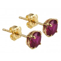 9ct 375 Yellow Gold Birthstone July Created Ruby 5mm Studs