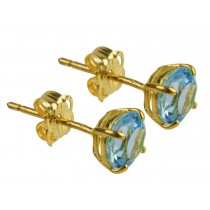9ct 375 Yellow Gold Birthstone March Topaz 5mm Studs