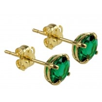 9ct 375 Yellow Gold Birthstone May Created Emerald 5mm Studs