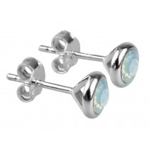 Sterling Silver 925 Birthstone October Opal 4mm Studs