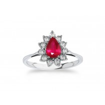 14ct 585 White Gold Ruby Diamond Ring