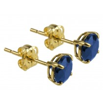 9ct 375 Yellow Gold Birthstone September Created Sapphire 5mm Studs