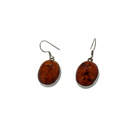 Sterling silver Amber Earrings Oval Shape