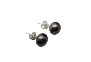 925 Silver 10mm Dyed Black Fresh Water Pearl Stud Earrings