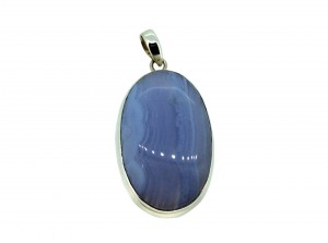 Blue Lace Agate Cabs Pendant 925 Sterling Silver Oval 25mm