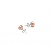 925 Silver 7mm Peach Fresh Water Pearl Stud Earrings