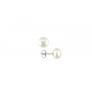 925 Silver 9mm White Fresh Water Pearl Stud Earrings