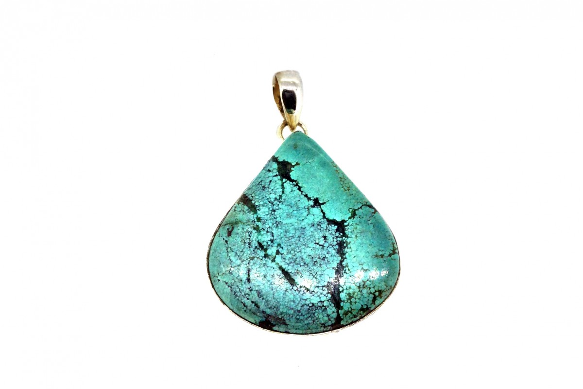 Turquoise Pendant 925 Sterling Silver Pear shape 35-40mm