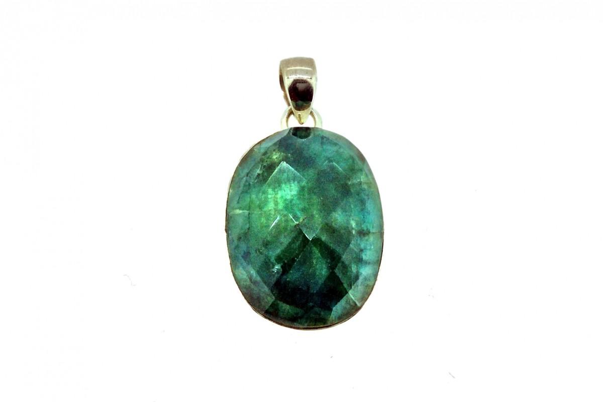 Dried Emerald Cut Stone Pendant 925 Sterling Silver Oval shape 30mm