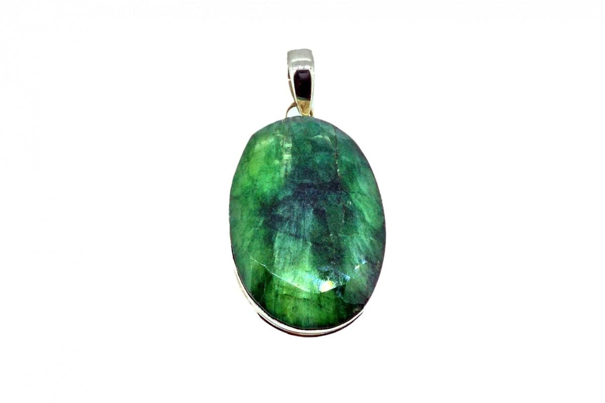 Dried Emerald Cut Stone Pendant 925 Sterling Silver Oval shape 35-40mm
