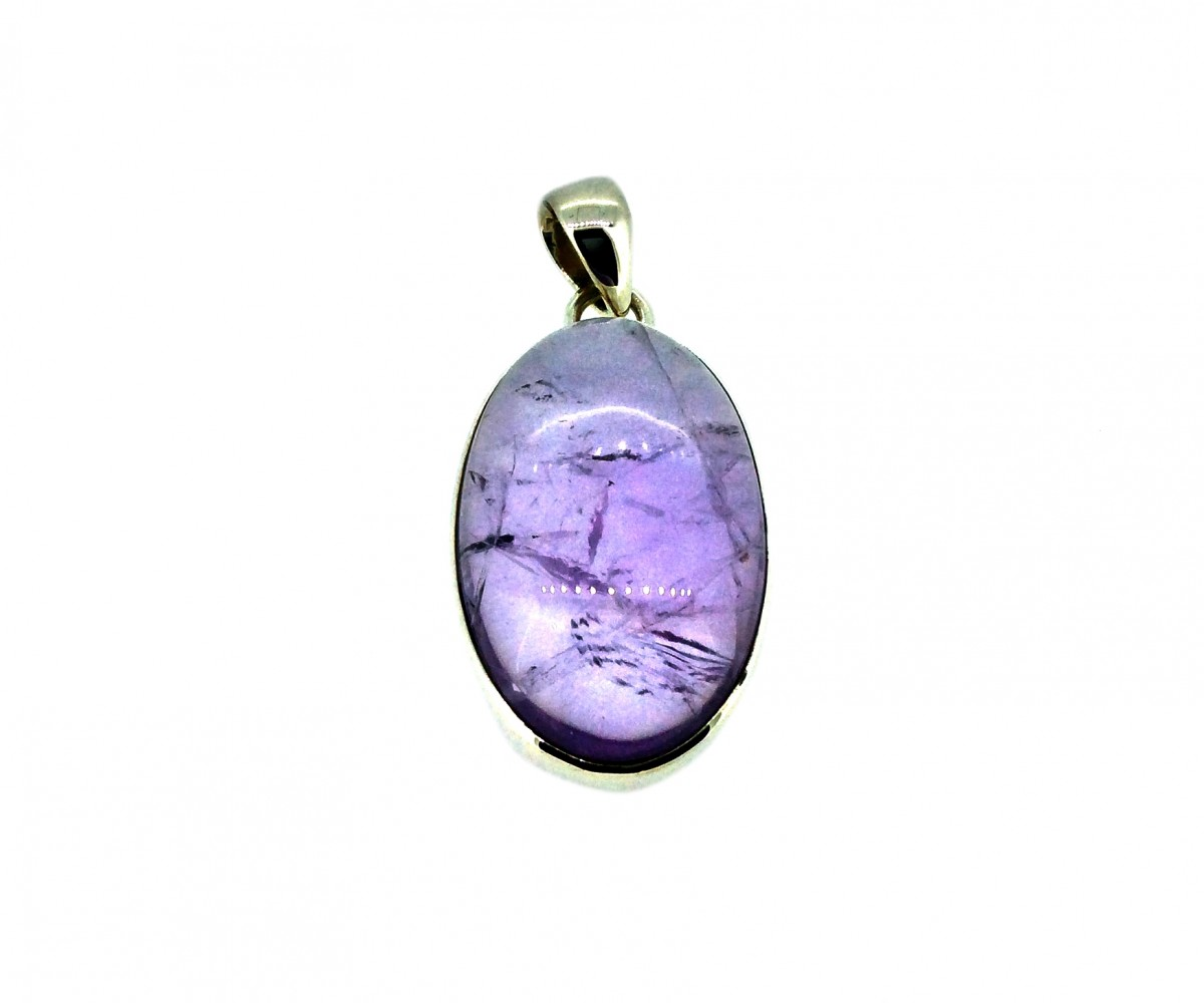 Amethyst Cabochon Stone Pendant 925 Sterling Silver Oval 20-30mm