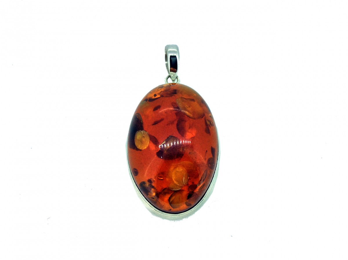 Amber Cabochon Stone Pendant 925 Sterling Silver Oval 45mm