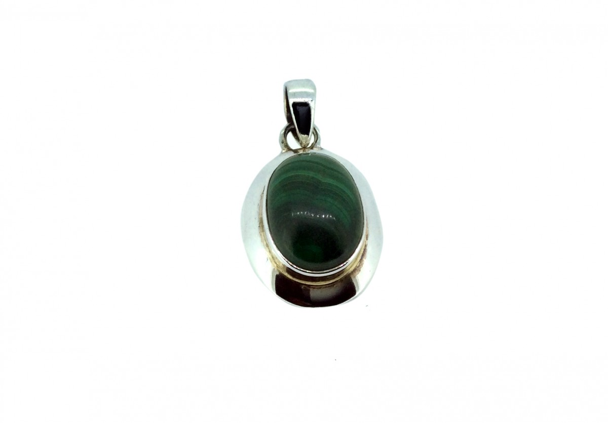 Melachite Cabochon Stone Pendant 925 Sterling Silver Oval 20mm