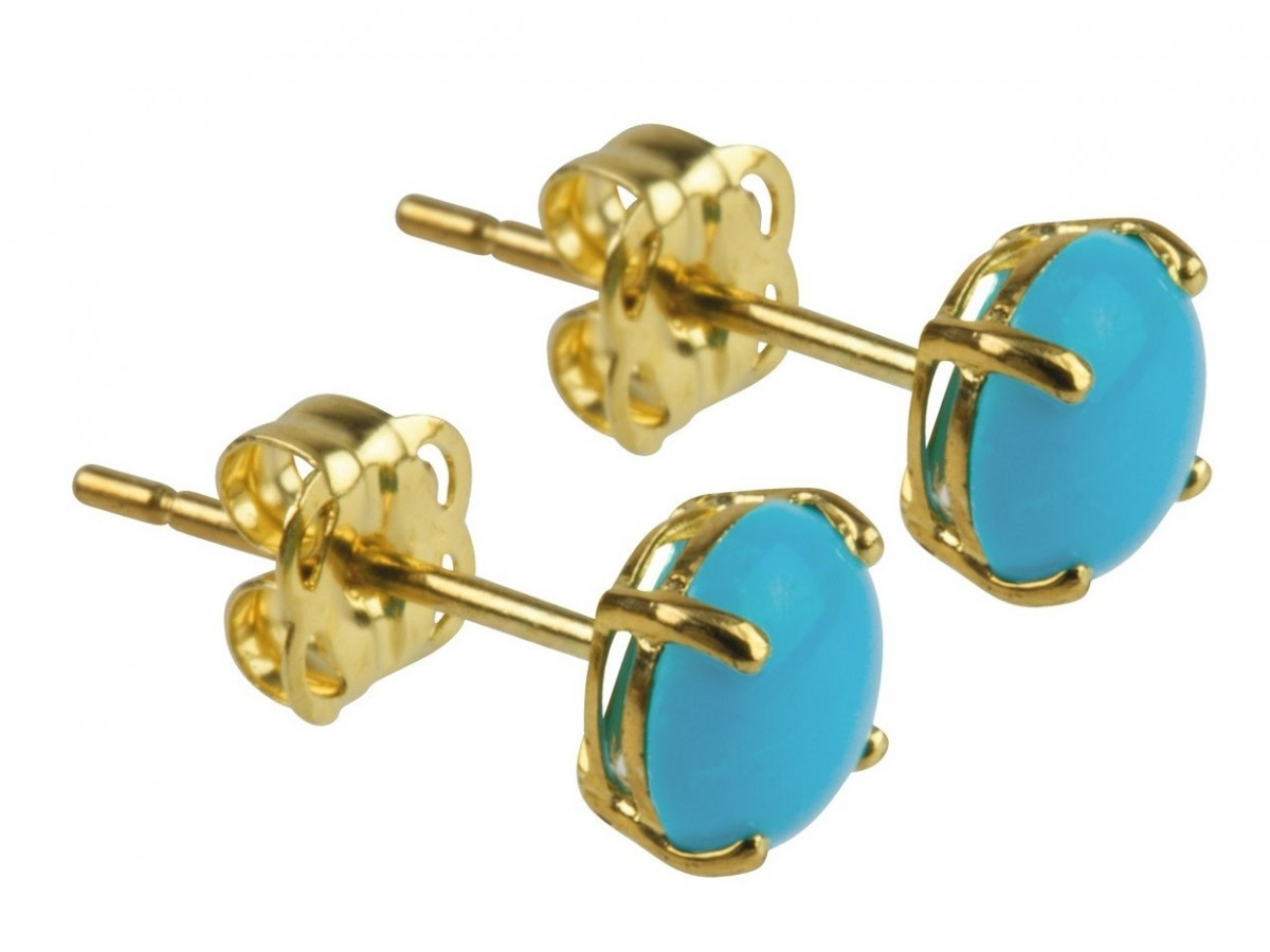 9ct 375 Yellow Gold Birthstone December Turquoise Cabochon 5mm Studs