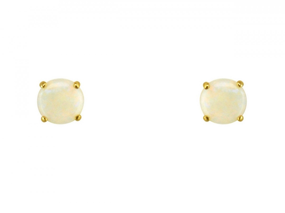 9ct 375 Yellow Gold Birthstone October Opal 5mm Studs